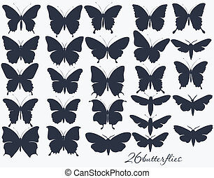 Collection of butterflies silhouett - Vector set of detailed...