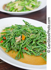 chayote - Stir fried chayote with chili on white dish ,...