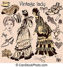 Collection of old-fashioned woman - Vector set of hand drawn...