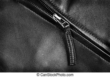 Leather Jacket Zipper - Deep textured leather jacket with...