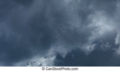 Stormy cloudy blue sky. - Nature background. Stormy cloudy...