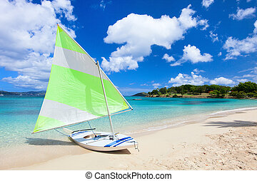 Catamaran at tropical beach - Catamaran at beautiful...