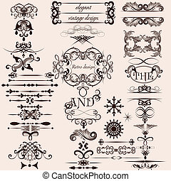 Vector set of decorative vintage - Vector set of...