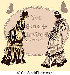Wedding invitation with vintage lad - Vector hand drawn...
