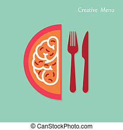 Creative brain Idea concept with fork and knife sign on...