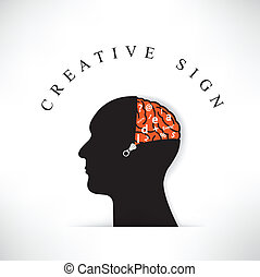 Creative silhouette head with opening the brain by zipper on...