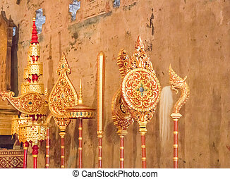 Set of antique golden buddism fans, stock photo