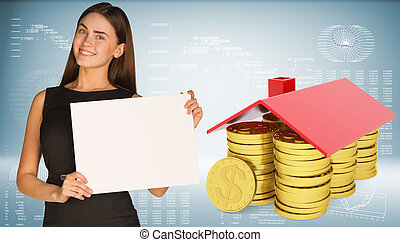 Businesswoman hold paper sheet. Conceptual house made from...