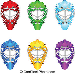 Goalie helmets - Set of goalie helmets for ice hockey.