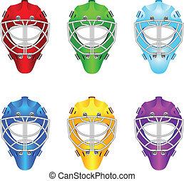 Goalie helmets - Set of goalie helmets for ice hockey.