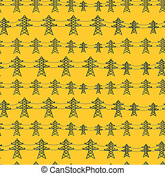 Seamless pattern of industrial power lines in flat style