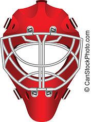 Goalie helmet - Realistic red goalie helmet for ice hockey.