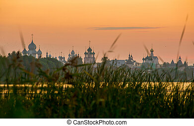 Kremlin of ancient town of Rostov the Great, Russia. -...