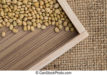 soy bean on the sacks background