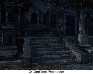 Cemetery- Halloween Background - 3d render of a...