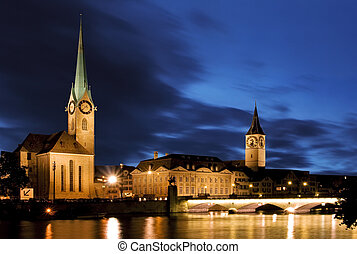 Fraumunster - Zurich - The night view of the Fraumunster in...