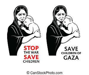 Save children stickers - War refugees mother with a little...