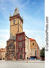 Clock tower - City hall  in Prague, Czech republic