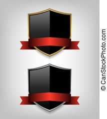Shield gold and silver with red ribbon illustration