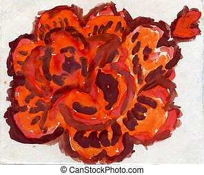 Painted Orange Rose - Grunge painted orange rose on paper...