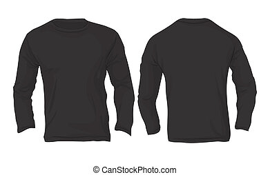 Men's Long Sleeved T-Shirt Template, Black Color - Vector...