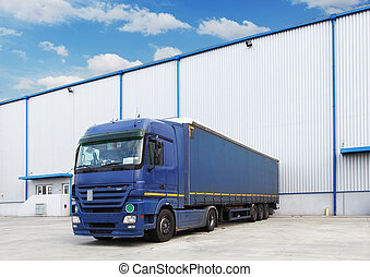 Truck, warehouse building - Truck at warehouse building