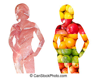 Two woman silhouettes consisting of vegetables and meat