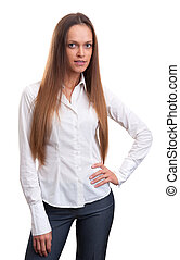 Business woman portrait isolated over white background