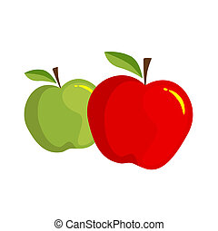 Apples - Red apple over white, Vector illustration, green...