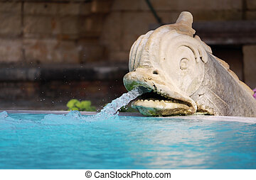 water fountain - a water fountain in the shape of a dolphin...