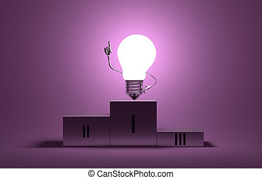 Glowing light bulb character on podium in moment of insight...