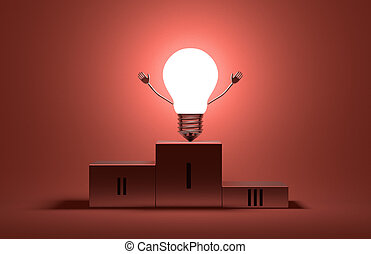 Glowing triumphant light bulb character on podium - Glowing...