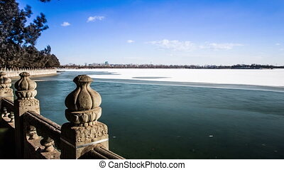 The snow and ice on Kunming Lake in the Summer Palace,...
