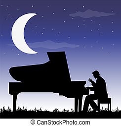 pianist under the moon - pianist in th night under the moon
