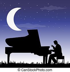 pianista, debajo, luna