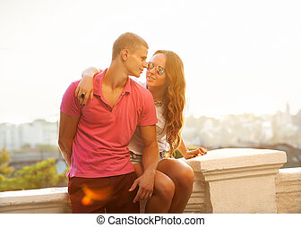 Young couple in love outdoor. Romantic young couple enjoying...