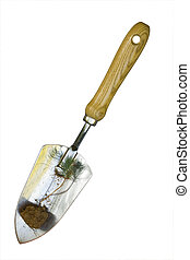 Hand Shovel with Sprout - Garden Hand Shovel with Pine Tree...