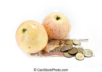 Money on the purchase of fruit