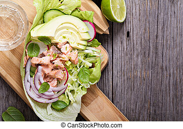 Salad with poached salmon and vegetables - Salad with...