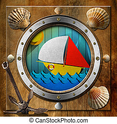 Metal Porthole with Sailboat - Brown and metallic porthole...