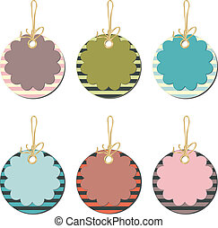 Set of floral price tags with strip