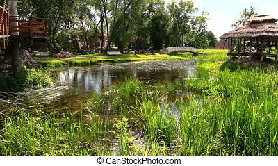river bridge park - Beautiful park fragment with flowing...