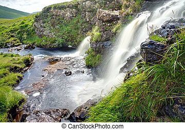Two waterfalls in Scotland - Two waterfalls on the Isle of...