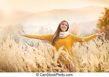 Autumn girl - Portrait of beautiful girl with scarf in...