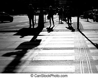 abstract people walking in the city