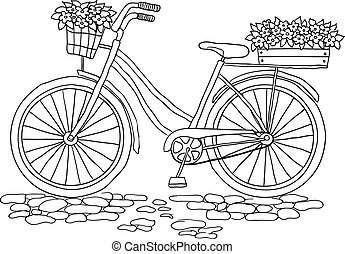 Bicycle with a basket of flowers - Bicycle with a two basket...