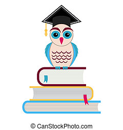 Graduation cap and owl - Colorful owl with graduation hat...
