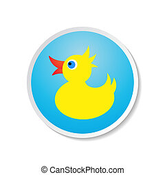 Rubber duck - Cute colorful vector duck icon on blue label