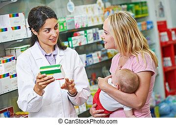 apotek, barn, apotekare, apotek, mor
