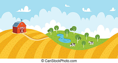 Seamless countryside rural landscape with fields, barn and cows